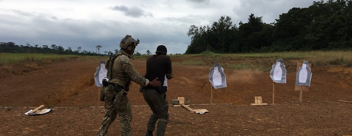 U.S. Army Special Forces Member provides training to Gabonese gendarmes