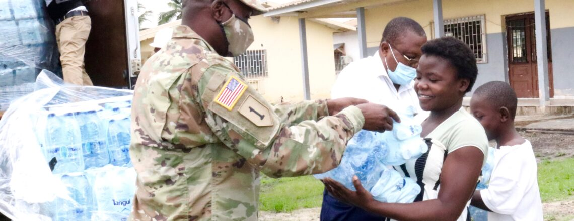 The U.S. Embassy in Libreville donates thousands of bottles of water to local orphanages