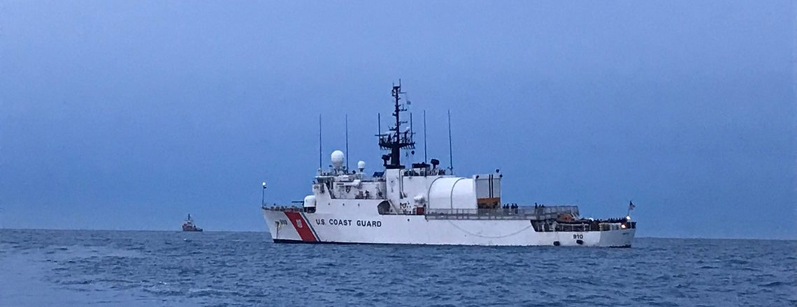 The US Coast Guard Cutter THETIS conducts maritime security drills in STP