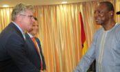President Condé welcomes Ambassador Henshaw and Power Africa Coordinator Andrew Herscowitz.