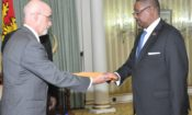 President Mutharika accepting credentials from U.S. Ambassador to Malawi, Robert Scott