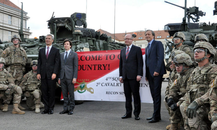 Ambassador Schapiro welcomed the U.S. military convoy crossing the Czech Republic to Ruzyně-Prague with NATO Secretary General Jens Stoltenberg, Czech Prime Minister Bohuslav Sobotka and Czech Defence Minister Martin Stropnický on September 8, 2015. (photo U.S. Embassy)