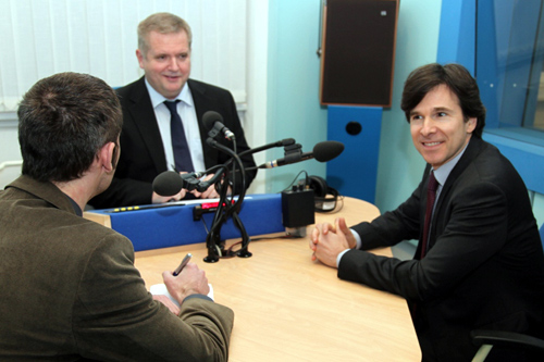 Ambassador Andrew Schapiro speaks to the Czech Radio during his visit to Hradec Králové on January 15, 2015.
