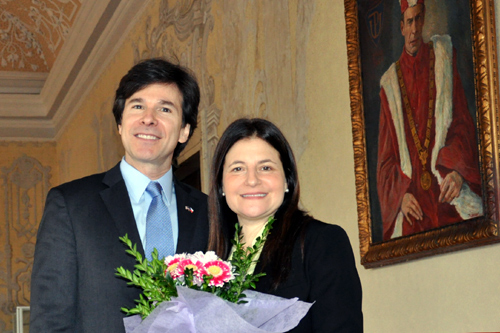 Ambassador Andrew Schapiro and his wife Tamar Newberger in Olomouc on February 24, 2015.