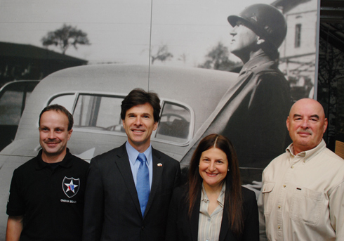 Curator Ivan Rollinger, Ambassador Andrew Schapiro, his wife Tamar Newberger, and curator Milan Jíša at the Patton Memorial.
