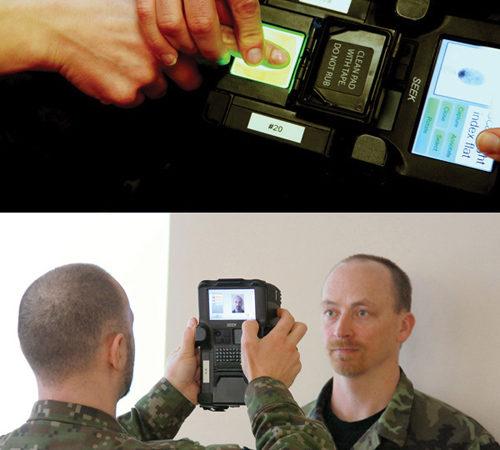 Czech military police work with new biometrics terminals.