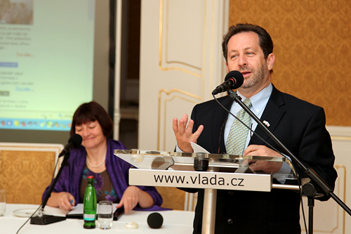 Chargé d'Affaires Steven Kashkett opens the conference held at the Lichtenstein Palace in Prague, June 2, 2014.