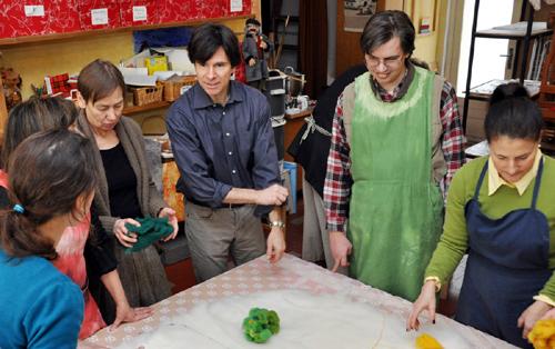 Ambassador Schapiro and his wife Tamar Newberger work at a social-therapy workshop Gawain.