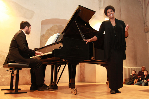 American soprano Nicole Taylor performs with piano accompaniment by Daniel Ernst at the Church of Saint Lawrence in Malá Strana.