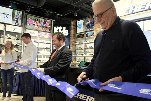 Chargé d'Affaires Steve Kashkett and Skechers' Managing Partner Marvin Bernstein (right) at the grand opening of the Skechers first store in Prague.