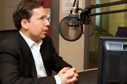 Nicholas Kralev gives an interview for Radio Free Europe/Radio Liberty on April 29, 2014.