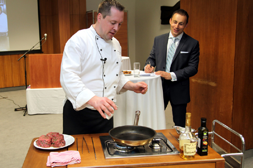 """The U.S. Chef Steven Trumpfheller shows how to make a great steak at a seminar organized by the Agricultural Affairs Office of the U.S. Embassy Prague on May 22, 2014. (photo U.S. Embassy Prague)"