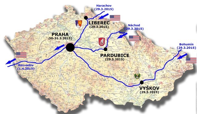 Routes of the Dragoon Ride in the Czech Republic.