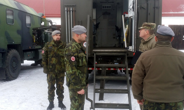 Czech and Americans soldiers works together at the Garrison of the 142nd Maintenance Battalion in Klatovy.