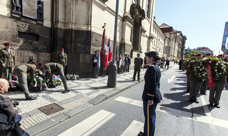 U.S. Embassy Prague Chief of the Office of Defense Cooperation LTC Stephanie Bagley participated in a commemorative ceremony at the Church of Cyril and Methodius in Prague on June 18 , 2016.