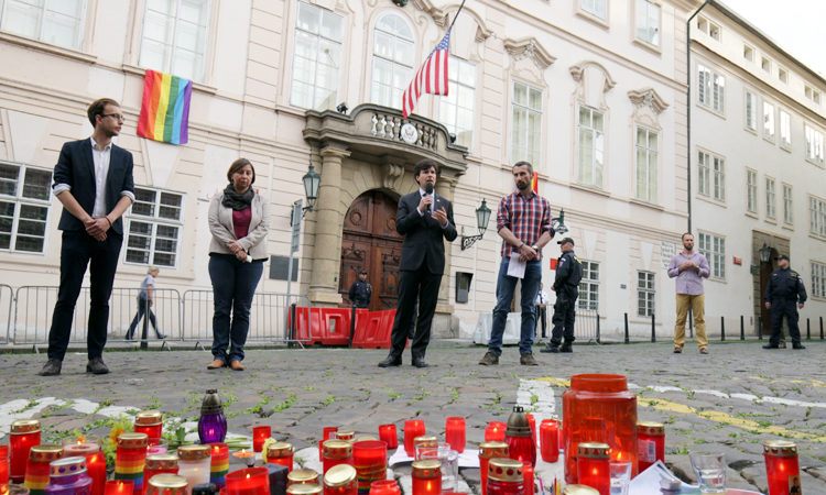 Prague vigils honoring victims of the shooting in Orlando.