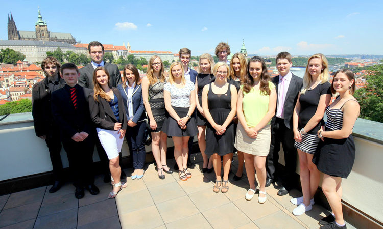 The U.S. Embassy's American Center in Prague organized an all-day Junior Ambassador Day event on June 8, in collaboration with the Rotary Club, featuring 20 Czech students and their senior Rotary sponsors.