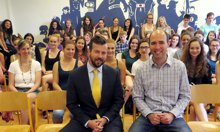 Economic Officer of the U.S. Embassy Noah Woodiwiss visited the Beskydy Mountain Academy in Frydlant nad Ostravici on June 23.