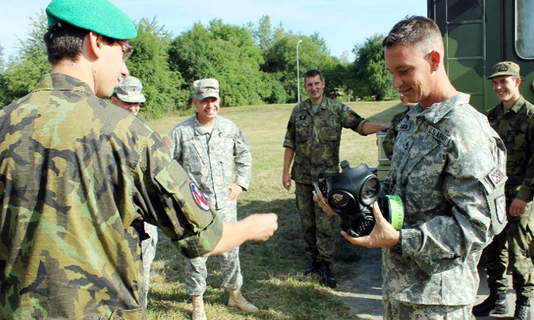 Four soldiers of the Texas Army National Guard, the 436th Chemical Company based in Laredo, participated in a Chemical, Biological, Radiological and Nuclear (CBRN) Site Response exchange with the Czech Republic's 31st CBRN Regiment, headquartered in Liberec, at the Vyskov Military Training Academy on July 18—22.