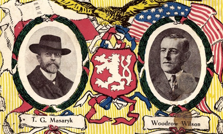 Postcard featuring presidents Tomáš Garrigue Masaryk and Woodrow Wilson