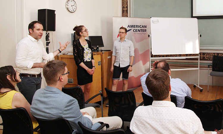 Fifteen students from the University of South Bohemia in Ceske Budejovice introduced their 'Democracy Go' project to Acting Deputy Chief of Mission Ray Castillo at the American Center on June 20.
