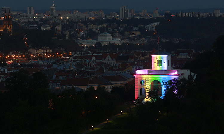 The U.S. Embassy's Gloriette pavilion illuminated with rainbow-themed colors during the Prague Pride festival in 2013.