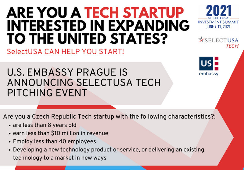 U.S. Embassy Prague is announcing SelectUSA Tech Pitching Event