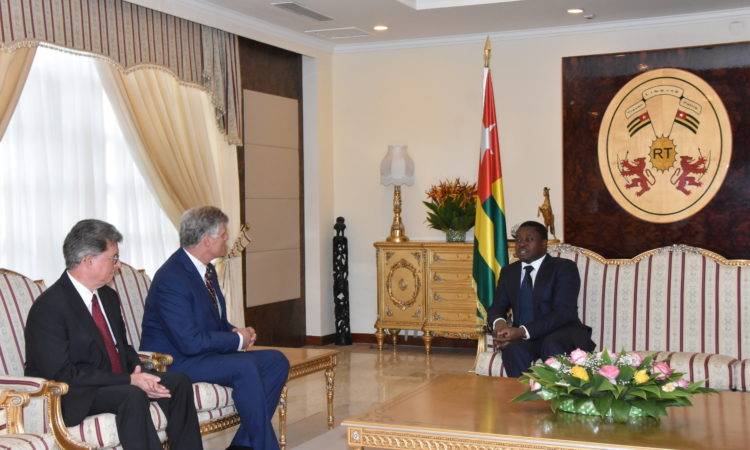 The Togolese President welcoming H.E. Ambassador Eric William Stromayer to his Cabinet