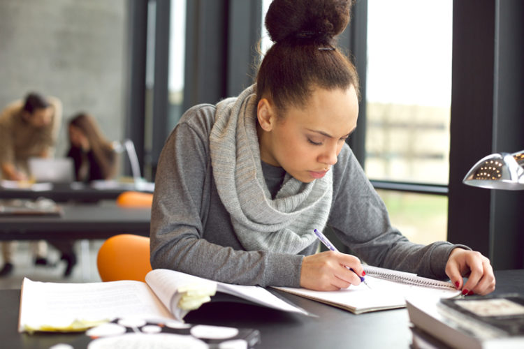 Image of a female student studying