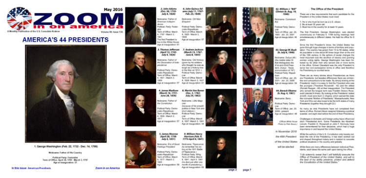 May 2016 issue of Zoom in on America