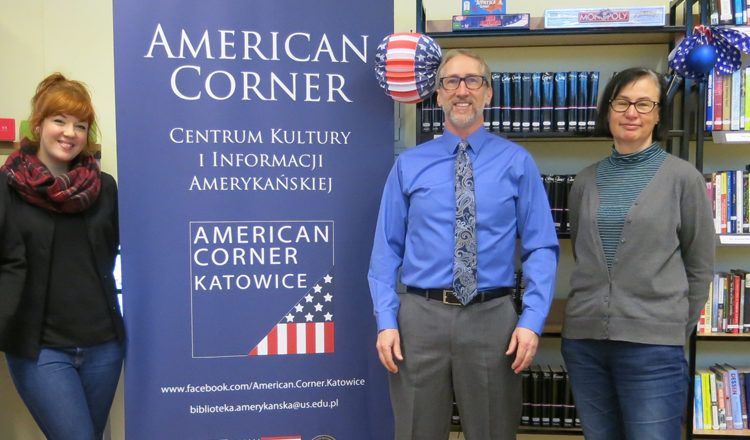 PAO Christopher Midura of Warsaw Embassy and the AC Staff at the American Corner in Katowice