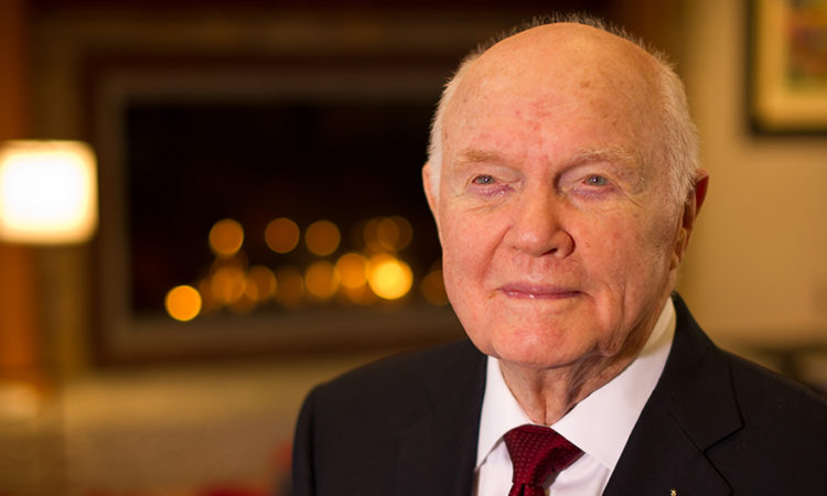 Sen. John Glenn poses for a portrait shortly after doing live television interviews from the Ohio State University Union building on Monday, Feb. 20, 2012, in Columbus, Ohio. Feb. 20 marked the 50th anniversary of his historic flight. Glenn was the first American to orbit Earth.
