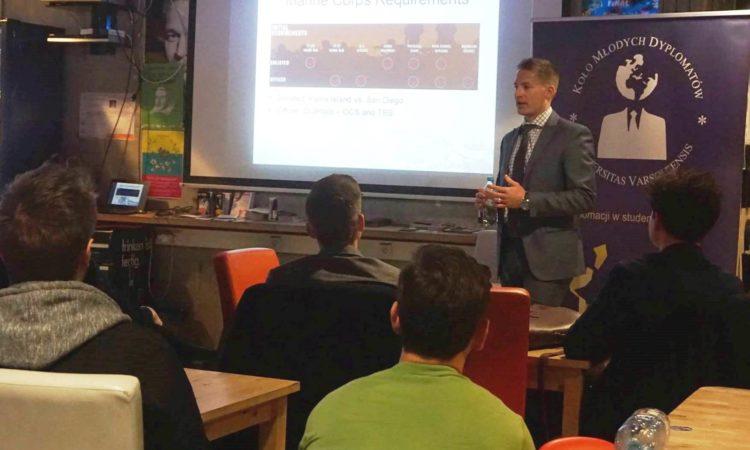 U.S. Marine Gunnery Sergeant Kurek Meets University of Warsaw Student Diplomats Group