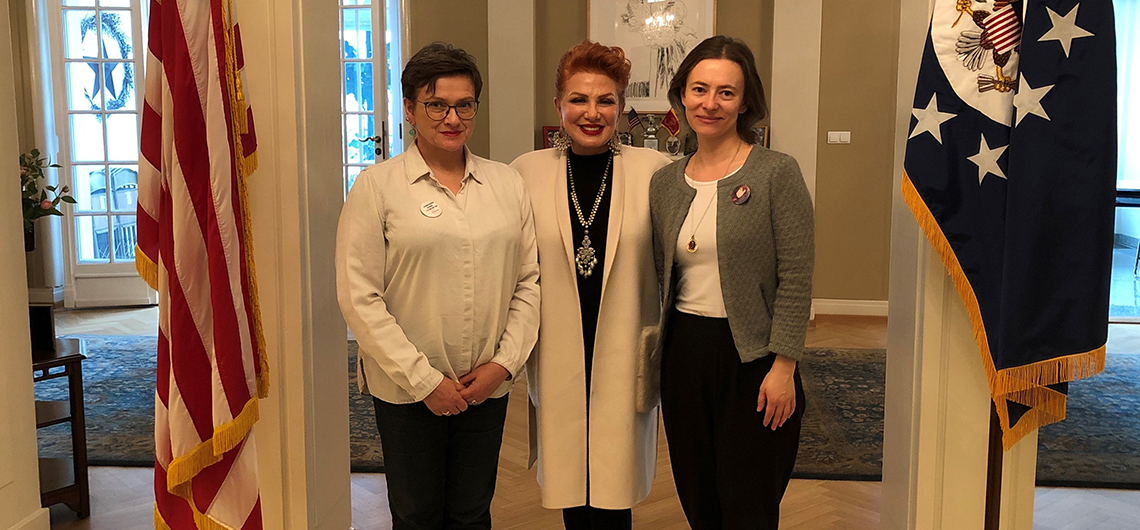 Ambassador Mosbacher receives AEIF Alumnae Winners at her residence in Warsaw