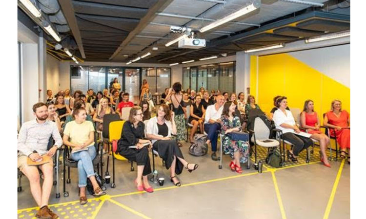 "Participants at the June 26 Kick-Off of the Network of Women Entrepreneur's ""Make the Change in Fashion"" Project"
