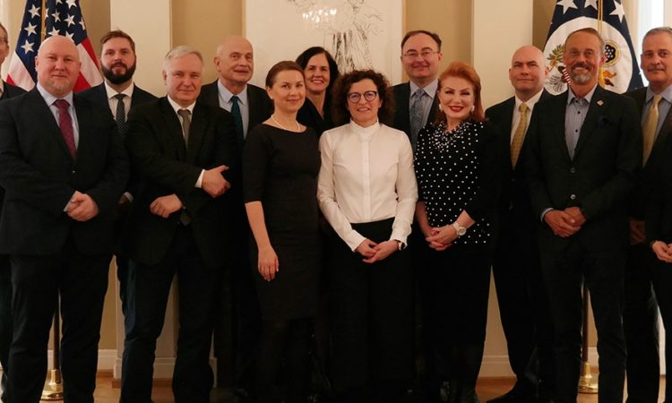 Ambassador Mosbacher with the Executive Director and Members of the Board of Directors of the Polish-U.S. Fulbright Commission at her residence in Warsaw