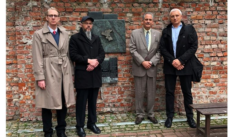 Embassy Officials and Warsaw Ghetto Museum Staff at Warsaw Ghetto Wall