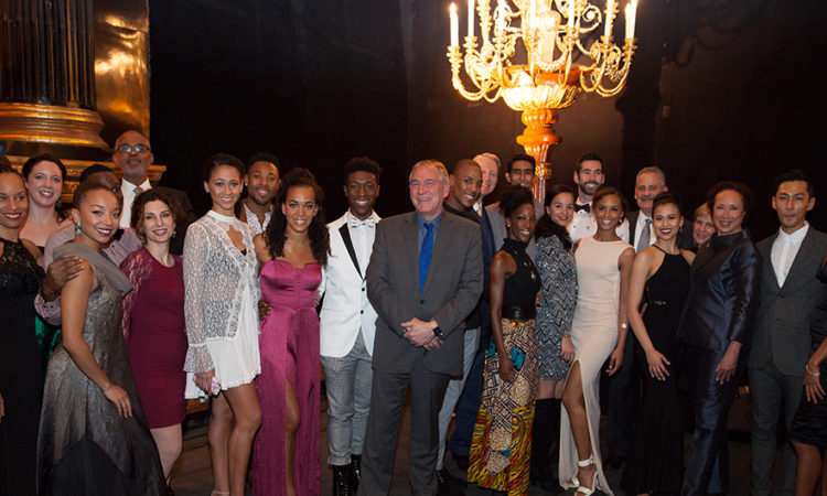 Chargé d'Affaires John Law with Members of the Dance Theatre of Harlem after their premiere in Warsaw, Poland on November 16, 2017