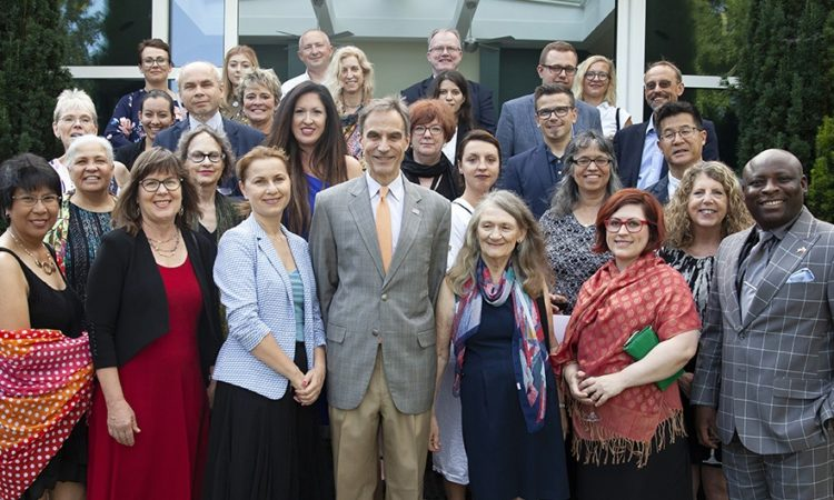 Ambassador Jones, Fulbright-Hays participants, and Polish guests at the Ambassador's residence in Warsaw