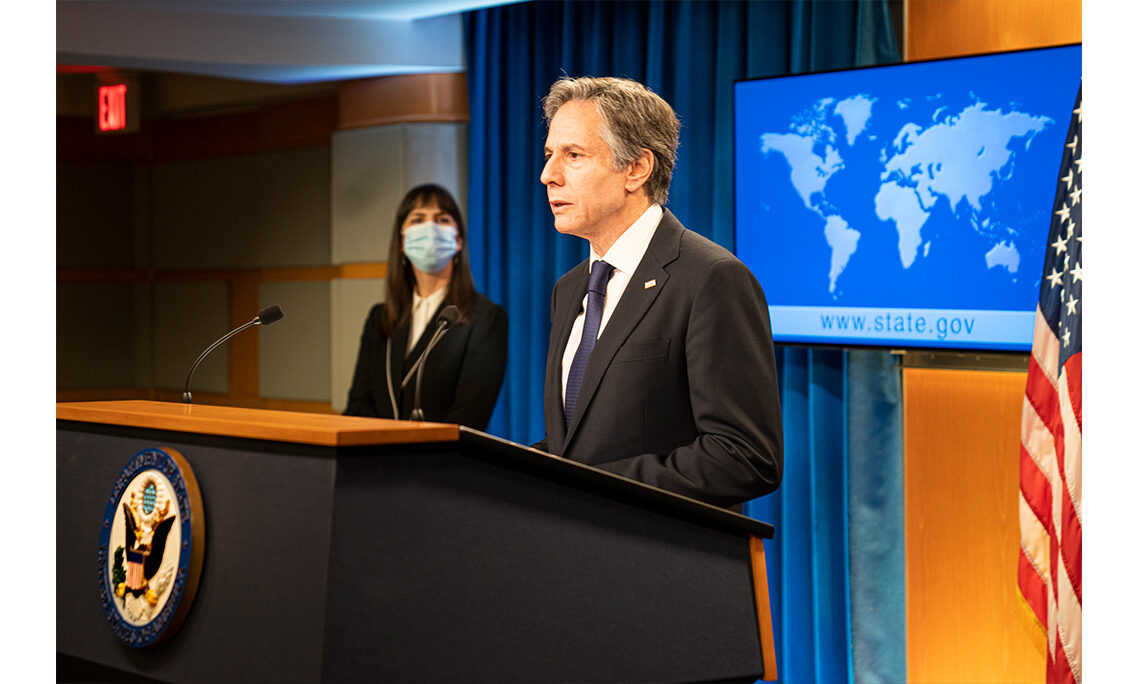 Secretary Anthony J. Blinken delivers remarks on the 2020 Country Reports on Human Rights Practices, from the Department of State on March 30, 2021. [State Department photo by Freddie Everett/ Public Domain]