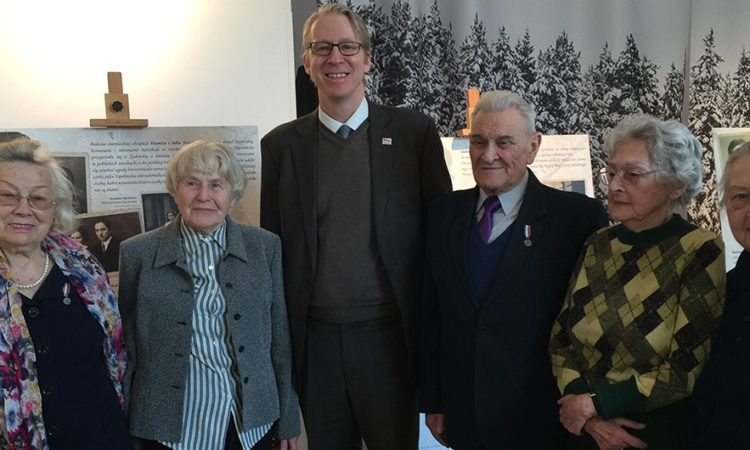 Cultural Attaché Dan Hastings at the exhibit opening with some of Poland's Righteous Among The Nations (Alicja Schnepf; Stanisława Kac; Tadeusz Stankiewicz; Anna Stupnicka-Bando; and Irena Senderska-Rzońca)