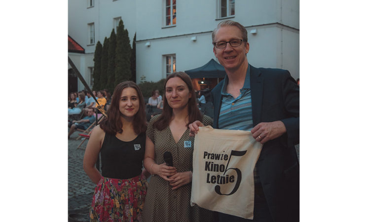 Cultural Attaché Dan Hastings with Prawie Kino's President and Vice President, Ms. Wiktoria Androkajtis and Ms. Kalina Nieckuła, before The Screening of Some Like it Hot