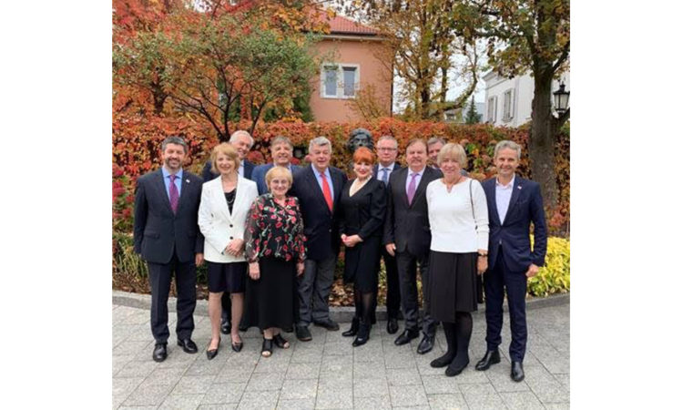 Ambassador Mosbacher with Members of the Board of Trustees of the Kosciuszko Foundation at her residence in Warsaw.