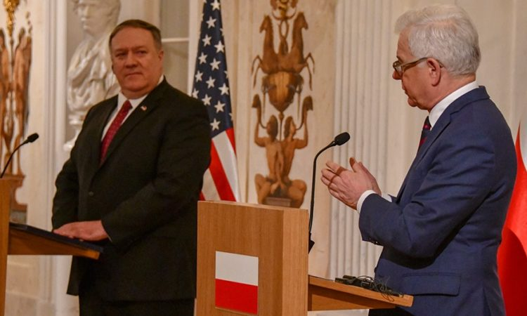 U.S. Secretary of State Michael R. Pompeo participates in a joint conference with Polish Foreign Minister Jacek Czaputowicz in Warsaw, Poland on February 12, 2019.