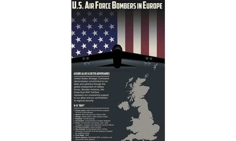 This U.S. Air Force Bombers in Europe poster provides details regarding the capabilities of the B-52 Stratofortress. (U.S. Air Force graphic by Global Strike Command)