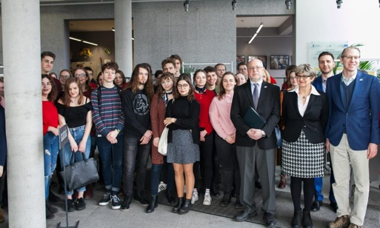 Dr. Radzilowski with Polish High School Students at Opole Public Library Named after John Paul II