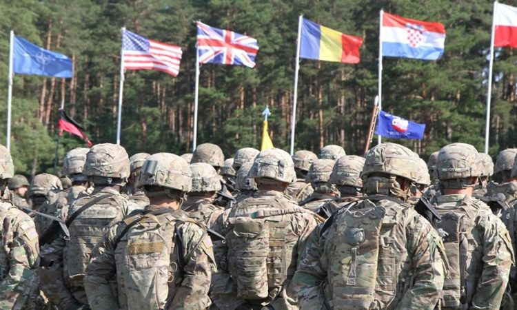U.S. Army Soldiers participate in the opening ceremony of Saber Strike at the Bemowo Piskie Training Area in Poland on Monday, June 4, 2018. (Michigan Army National Guard photo: 1st Lt. Erica Mitchell/ released).