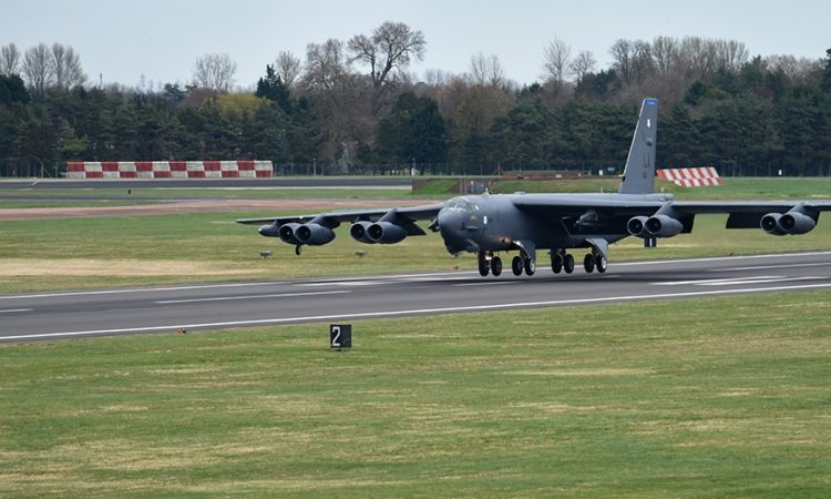 A B-52 Stratofortress deployed from Barksdale Air Force Base, La., lands on the flight line at RAF Fairford, England, March 20, 2019. The B-52s are deployed to support U.S. Strategic Command's Bomber Task Force (BTF) in Europe. (U.S. Air Force photo by Airman 1st Class Jennifer Zima)