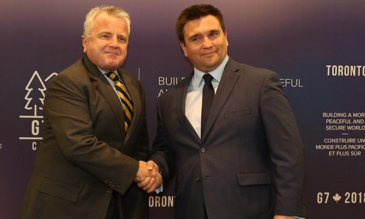 Acting Secretary of State John J. Sullivan meets with Ukrainian Foreign Minister Pavlo Klimkin, on the margins of the G-7 Foreign Minster's Meeting, Toronto, Canada, April 21, 2018.