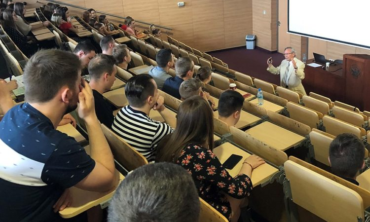 Dr. Robert Blobaum lecturing to university students at Cardinal Stefan Wyszyński University in Warsaw